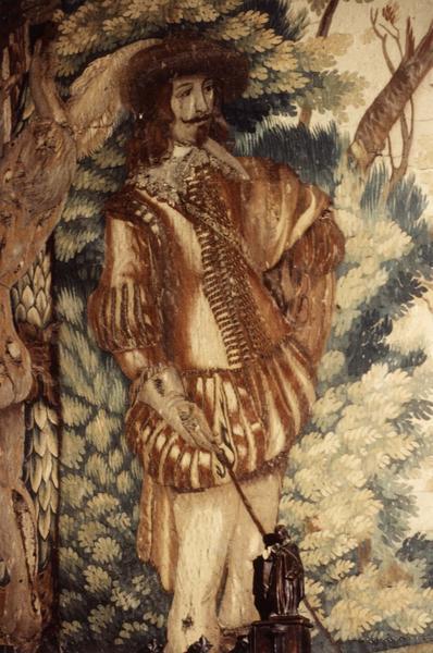 Pièce murale (tapisserie à bordure à tableaux) : Louis XIII à cheval exécutant une volte