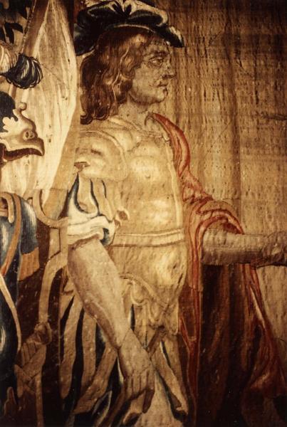 pièce murale (tapisserie à bordure à tableaux) : Louis XIII et le cheval au piquet, détail