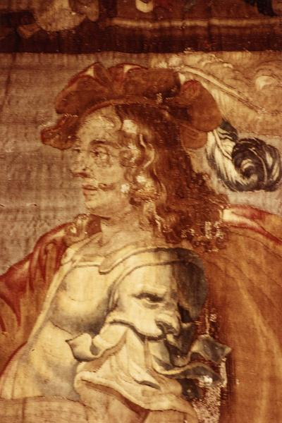 pièce murale (tapisserie à bordure à tableaux) : Louis XIII à cheval effectuant un saut sur place, détail