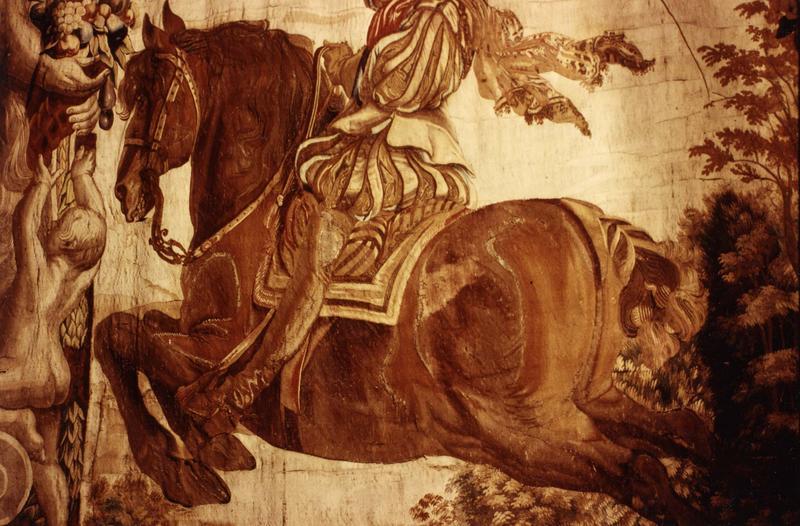 pièce murale (tapisserie à bordure à tableaux) : Louis XIII à cheval sautant un obstacle, détail