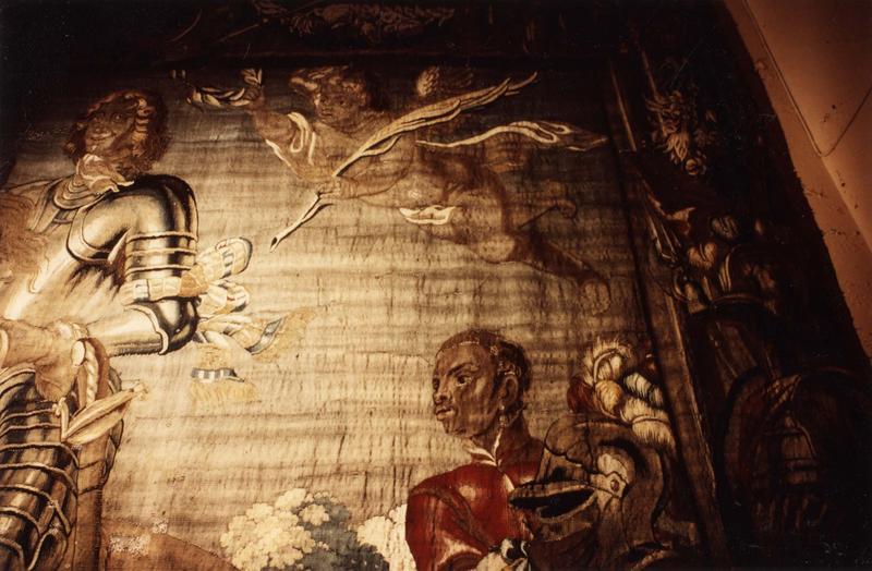 pièce murale (tapisserie à bordure à tableaux) : Louis XIII à cheval combattant, détail