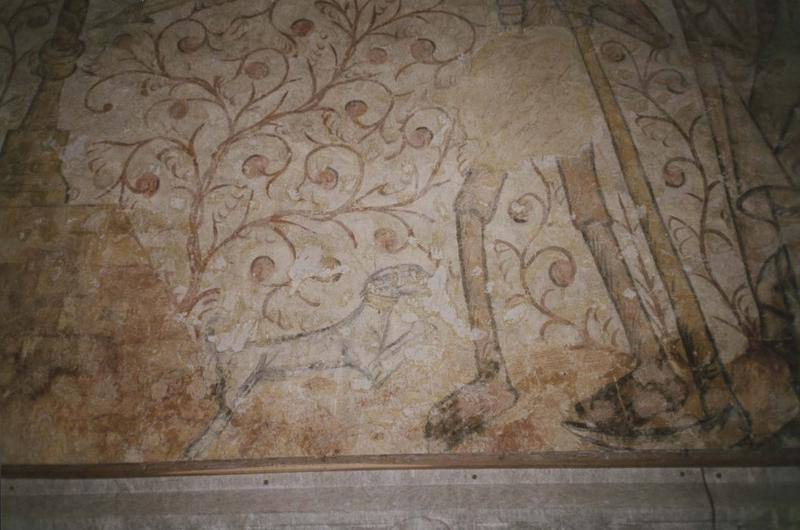 2 peintures monumentales : Le Dit des trois morts et des trois vifs, Saint Benoît ressuscitant un enfant