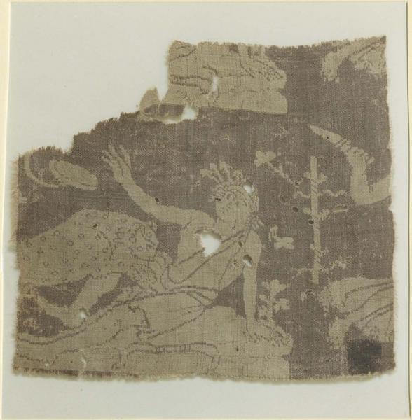 Tissu (fragment): scène dyonisiaque, détail