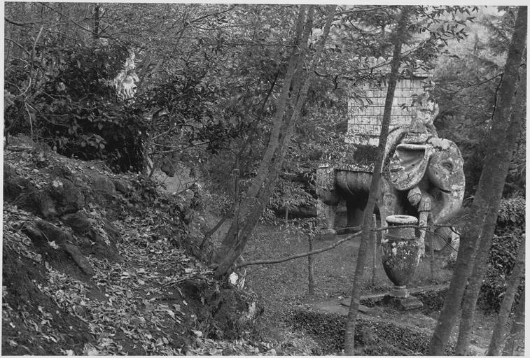 Vue du jardin en broussailles, d'un homme barbu à flanc de colline et d'un éléphant