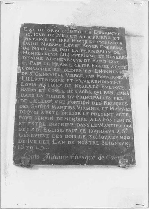Inscription commémorative de la consécration de l'église