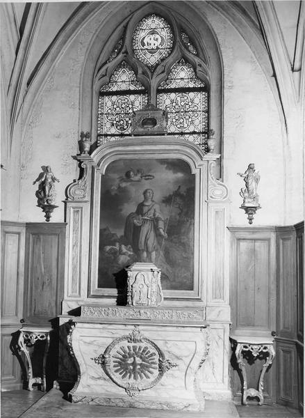 autel dit de saint Mammès, tabernacle, retable, 2 statues : Saint Jean l'évangéliste, Vierge (la)