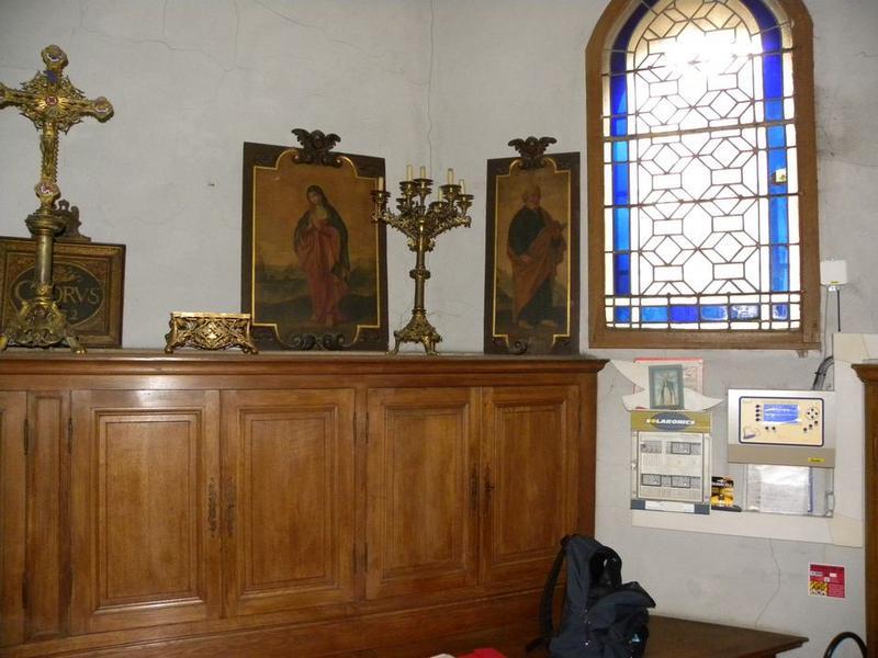 Cinq peintures (panneaux peints) de l'ancienne chaire : Vierge, Saint Pierre, chorus