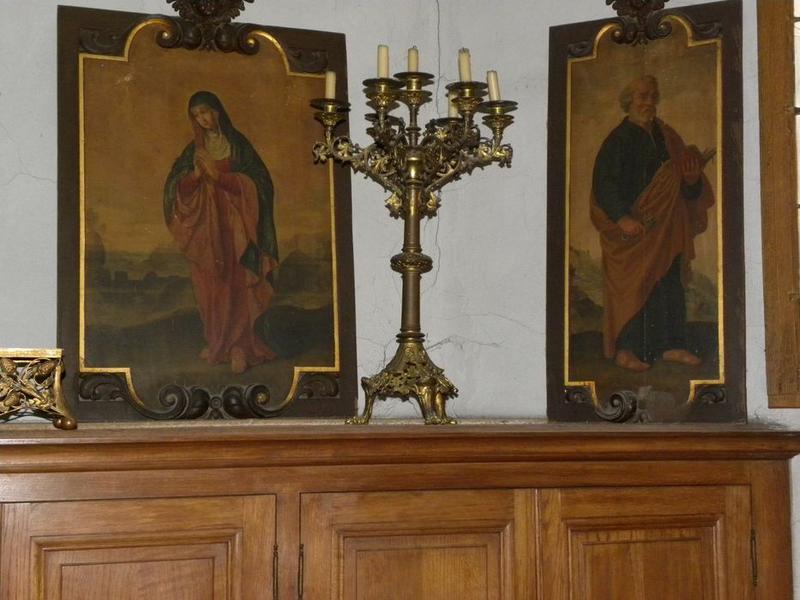 Cinq peintures (panneaux peints) de l'ancienne chaire : Vierge, Saint Pierre