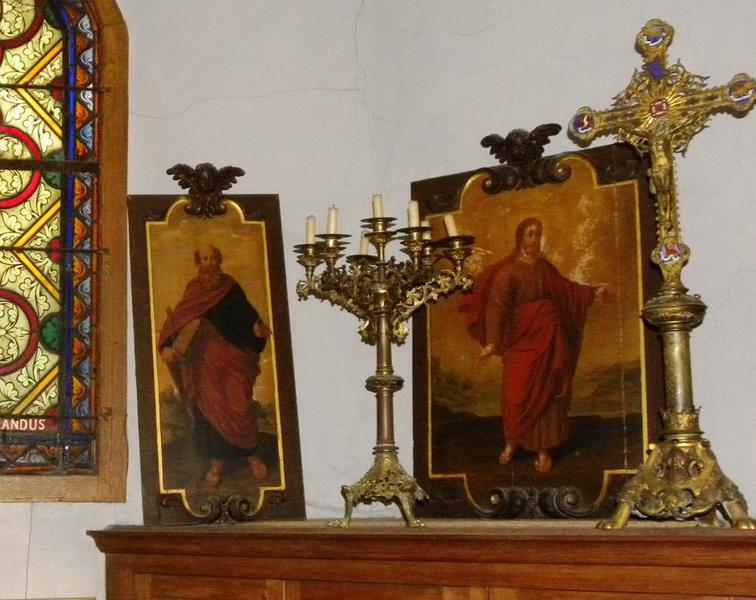Cinq peintures (panneaux peints) de l'ancienne chaire : Christ, Saint Paul