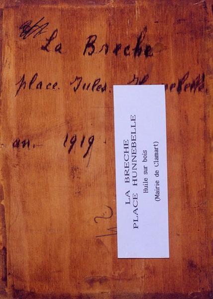 Tableau n°42 : La Brèche place Jules Hunebelle, revers
