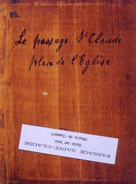 Tableau n°49 : Passage Saint-Claude, revers
