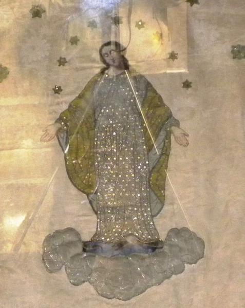 Bannière de procession de la Vierge: détail du motif central