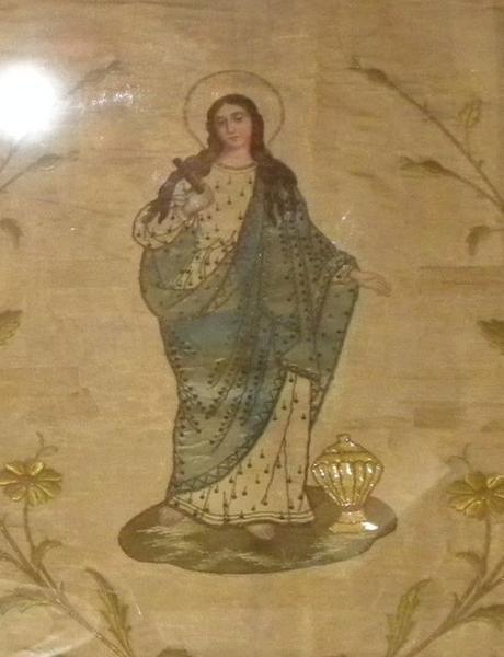 Bannière de procession de sainte Madeleine: détail du motif central