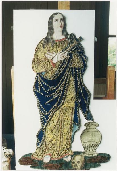 Bannière de procession de sainte Madeleine: détail du motif central détaché