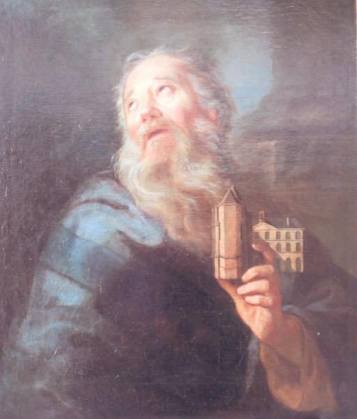 Tableau : Saint Sulpice tenant la maquette de la Solitude