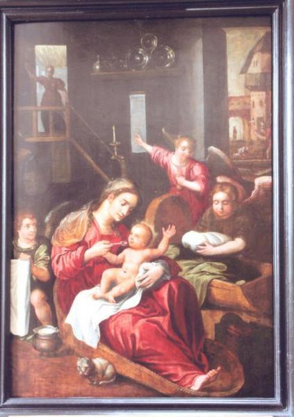 Tableau : Sainte Famille en Egypte servie par les anges