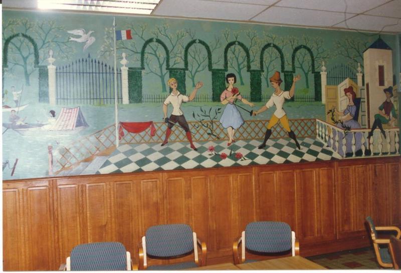 Peinture monumentale (peinture murale) : Le Dimanche au bord de l'eau - Ile de la Jatte: détail