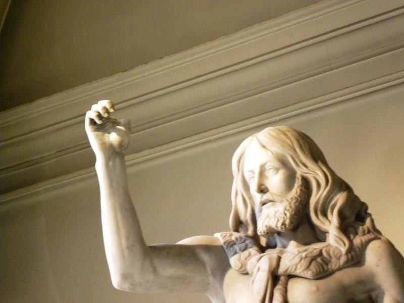 Statue : Saint Jean-Baptiste: détail des pouce et index droit disparus