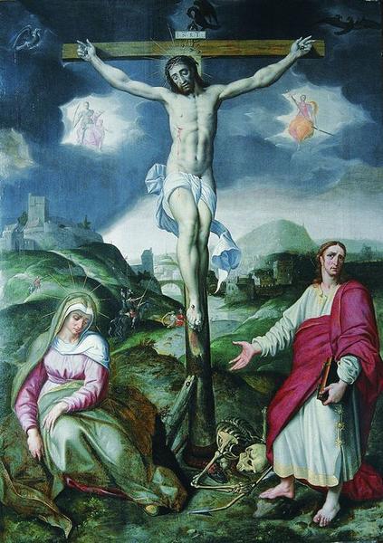 Tableau : Christ en croix entre la Vierge et saint Jean