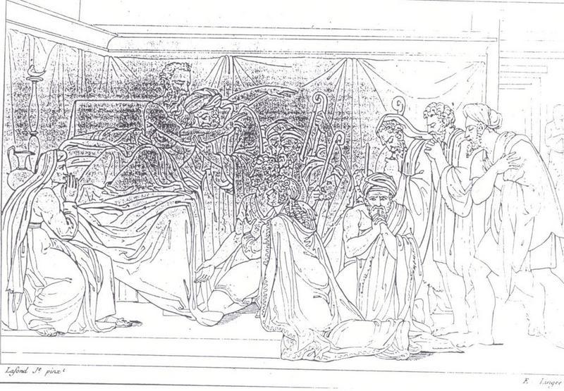 Tableau : Jacob bénissant ses enfants: gravure d'E. Lingé