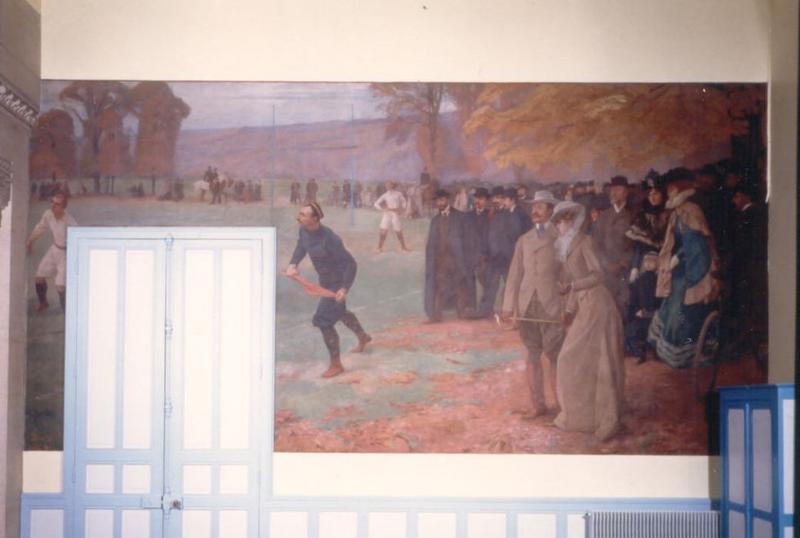 Peinture monumentale (peinture murale) : Match de rugby de l'équipe de Lakanal