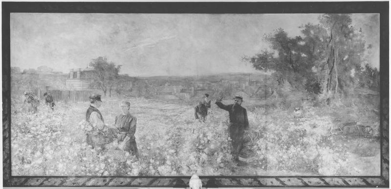 Peinture monumentale : les vendanges, vue générale