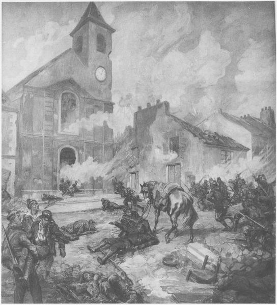 Tableau : Les Combats du Bourget en 1870, vue générale