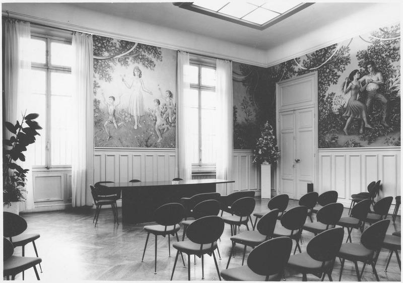Peintures monumentales : ensemble de 4 grandes compositions du décor de la salle des Mariages, vue partielle