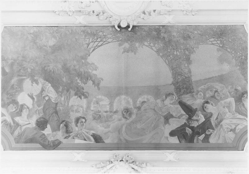 plafond (3 caissons peints) : Hommage à la cité des Lilas (centre), Soirée sous la tonnelle (ouest), Le Parfum des Lilas (est)