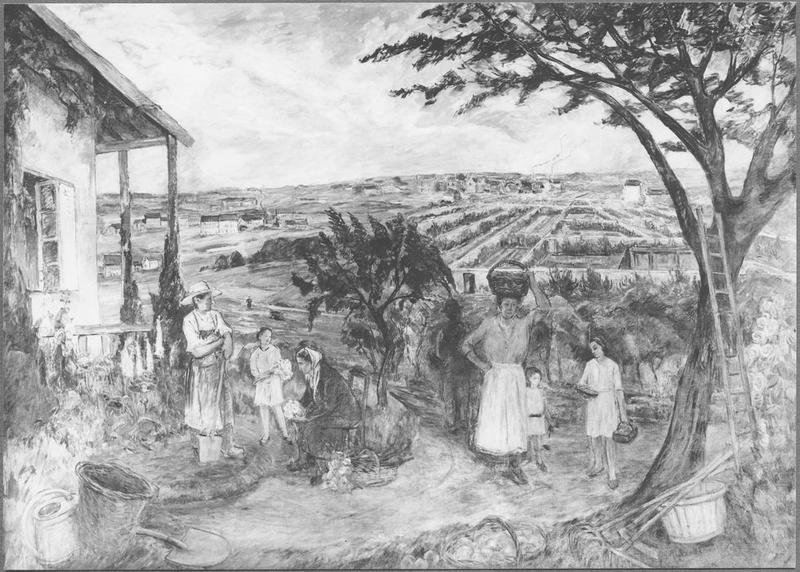 Tableau : Famille d'arboriculteurs à Montreuil-sous-Bois, vue générale