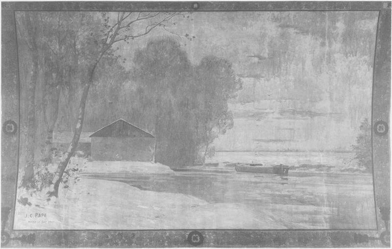 Plafond : caisson peint (Noisy en hiver vers le Canal de l'Ourcq), vue générale