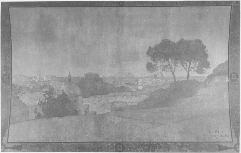 Plafond : caisson peint (Noisy en été vu de Romainville), vue générale