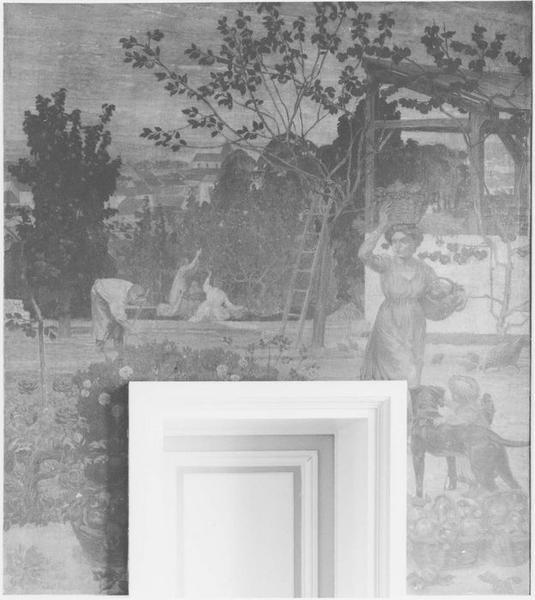 Peinture monumentale : La cueillette des pommes, vue générale