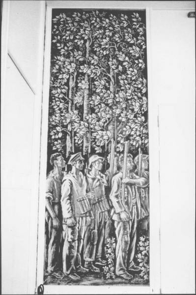 Peinture monumentale : panneau figuratif (jeunes maquisards), vue générale