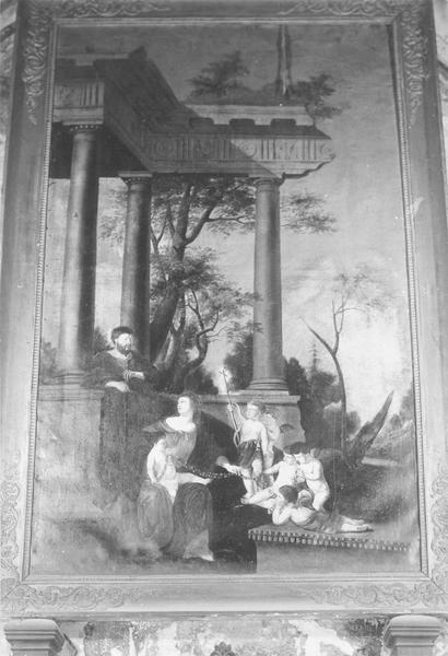 Tableau, cadre : La Sainte Famille dans les ruines