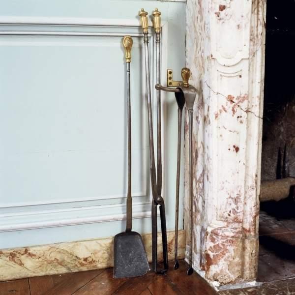 ensemble de cheminée : pincettes, pelle, tenailles