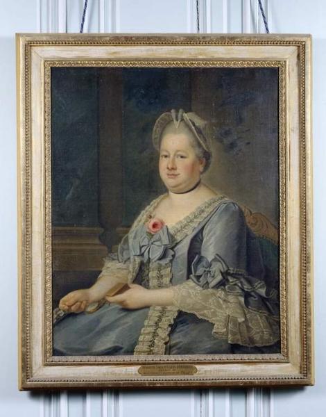 Tableau et son cadre : portrait d'Henriette-Louise d'Hilliers d'Entragues, épouse de Jean-Charles-Baptiste du Tillet, marquise du Tillet