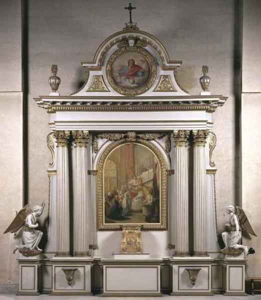 Autel, gradin, tabernacle, retable architecturé, tableau d'autel : saint Brice donnant la confirmation, tondo : Dieu le père, et paire de statues d'anges adorateurs en pendant (maître-autel)