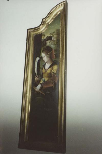 Deux volets peints de triptyque : sainte Catherine et sainte Barbe
