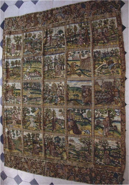 pièce murale (tenture) : les 25 saints ermites