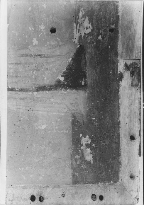 devant d'autel : le Calvaire entre sainte Madeleine et sainte Barbe, détail