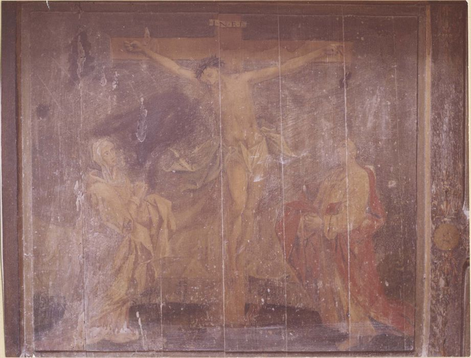 Retable du maître-autel, 2 tableaux : Christ en croix entre la Vierge et saint Jean (Le), Portement de croix (Le)