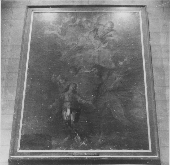 Tableau : saint Joseph et l'Enfant Jésus bénis par Dieu le père et le saint Esprit