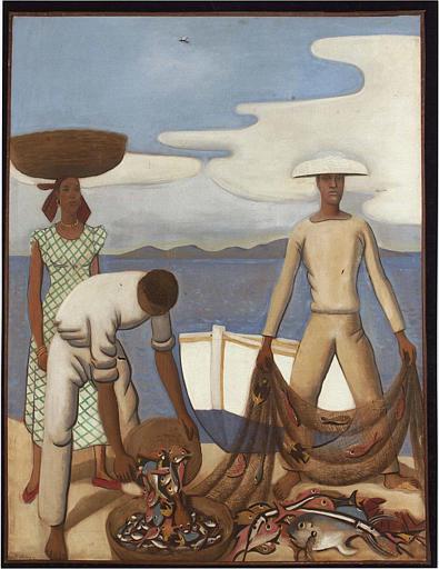 tableau : Deux pêcheurs secouant un filet avec une femme