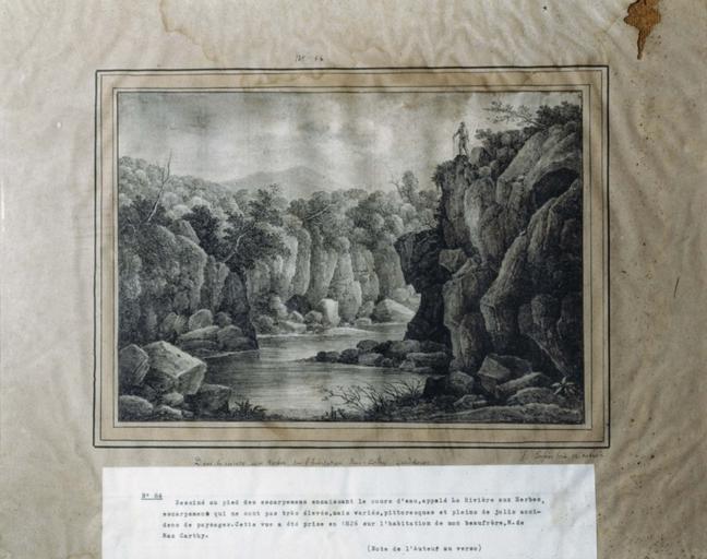 Dessin : Dans la rivière aux Herbes, sur l'Habitation Mac - Carthy, Guadeloupe (n° inv. 84)