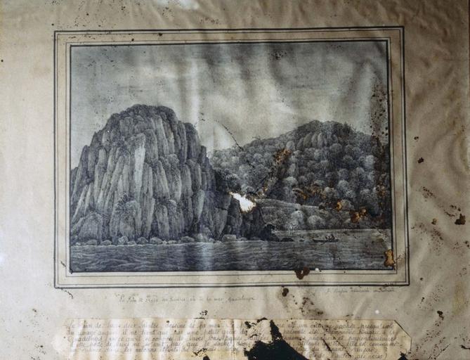 Dessin : Le Pain de Sucre des Saintes vu de la mer, Guadeloupe (n° inv. 92)