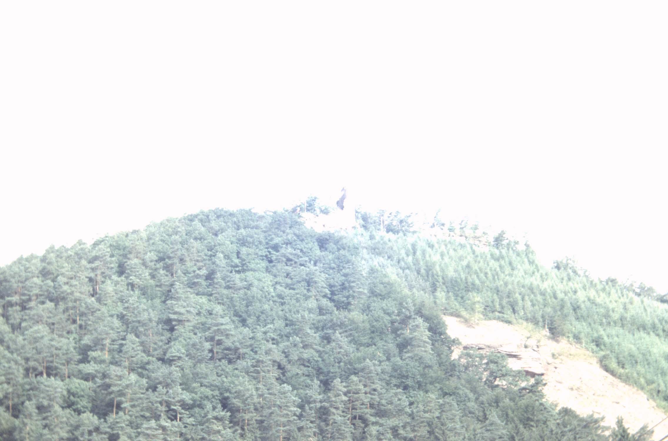 Mont : vestiges du château au sommet, vue à distance