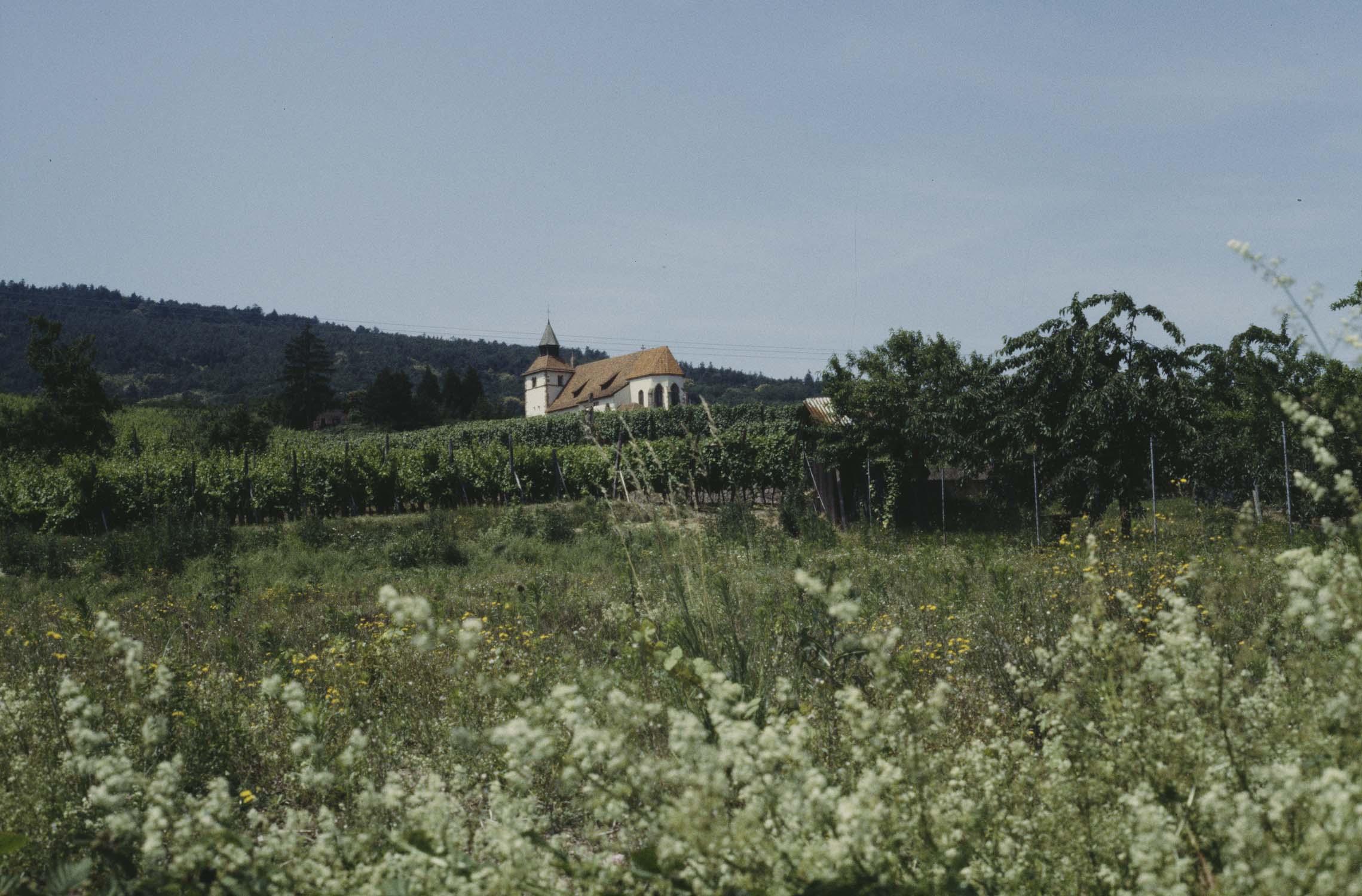 Chapelle, vue à distance d'un champ