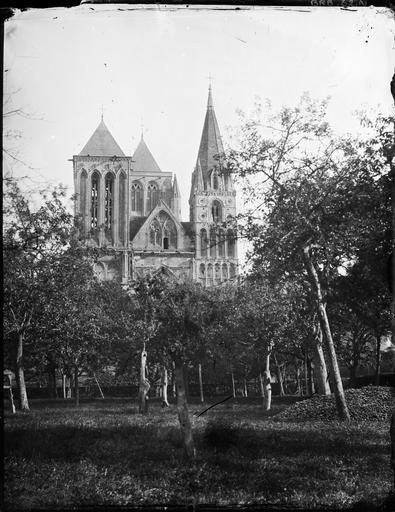 Champs de pommiers et façade de l'abbatiale Saint-Pierre