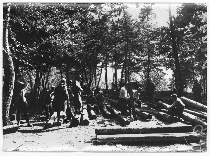 Nord de Badonviller : Le Rendez-vous des Chasseurs : soldats préparant des rondins pour la construction des abris